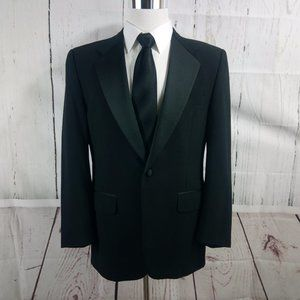 Custom Made 41R 1 Button Black Tuxedo Suit Blazer